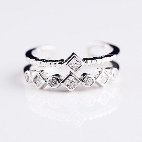 Trendy Simple Style Two-Layered Rhinestone Cuff Ring Women ONE-SIZE