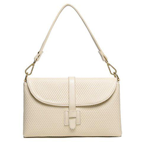 Store Simple Embossing and Solid Color Design Shoulder Bag For Women