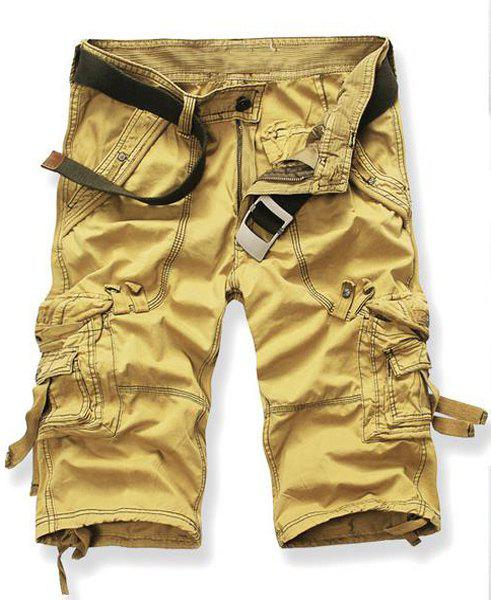 Chic Straight Leg Zipper Fly Capri Cargo Pants