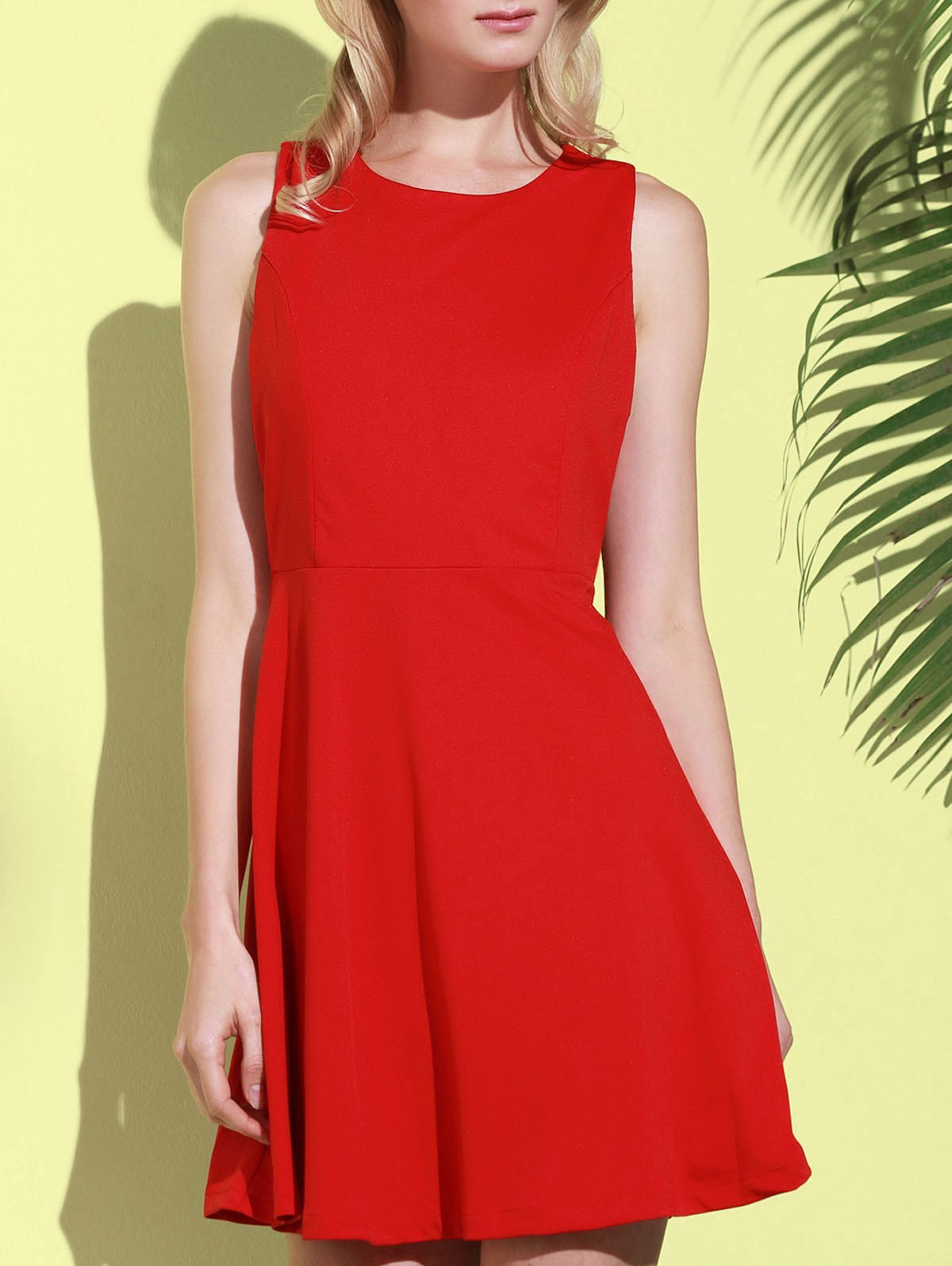 Trendy Stylish Round Collar Sleeveless A-Line Dress For Women