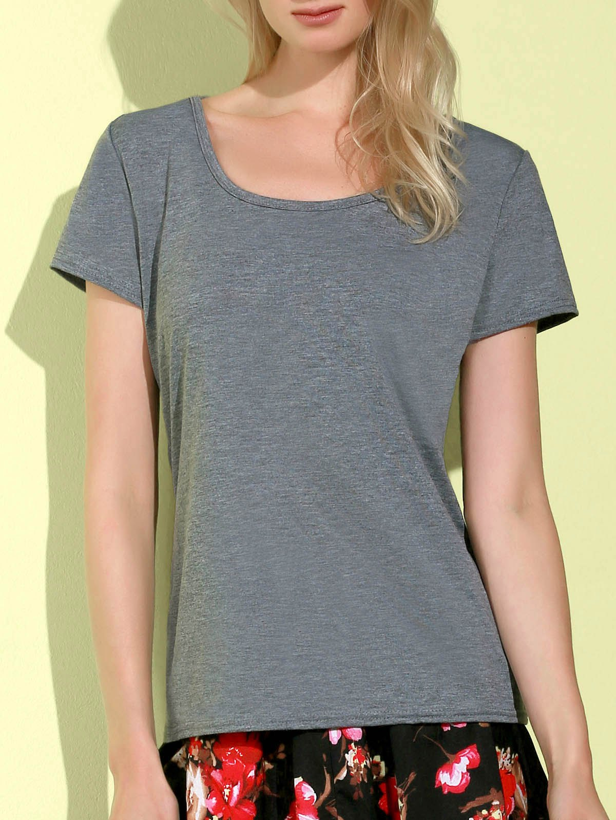 Trendy Simple Style Scoop Collar Short Sleeve Slimming Gray T-Shirt For Women