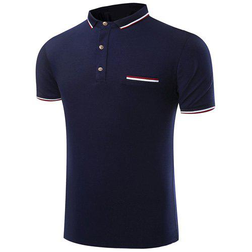 Col rabattu Polo Color Block Spliced ​​manches courtes T-shirt