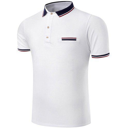 Trendy Turn-Down Collar Color Block Spliced Short Sleeve Men's Polo T-Shirt