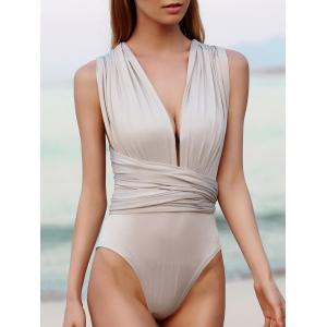 Sexy Solid Color Backless Convertible Bodysuit For Women