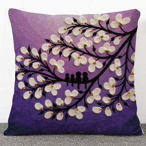 High Quality 3D Oil Painting Flowers Pattern Flax Pillow Case(Without Pillow Inner)