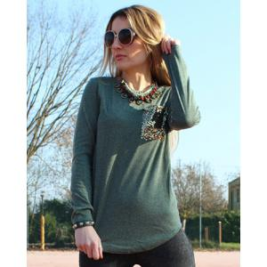 Chic Scoop Collar Long Sleeve Sequined Women's T-Shirt - BLACKISH GREEN S