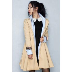 Noble Turn-Down Collar Long Sleeve Pure Color Self Tie Belt Women's Coat Dress - KHAKI S