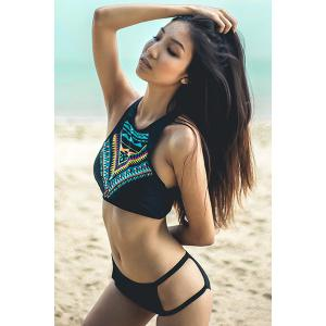 High Neck Geometrical Print Racerback Bikini Set -
