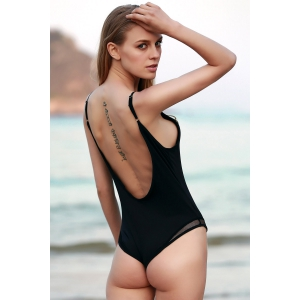 Sexy See-Through Hollow Back Women's Bodysuit - BLACK S