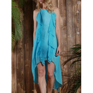 Sleeveless High Low Chiffon Ruffles Flowy Dress - LIGHT BLUE M