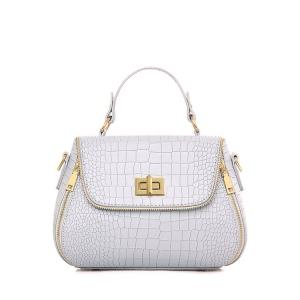 Retro Hasp and Crocodile Print Design Tote Bag For Women - Light Gray - 41