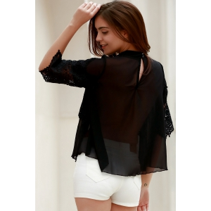 Sheer Lace Chiffon Splicing Blouse - BLACK M