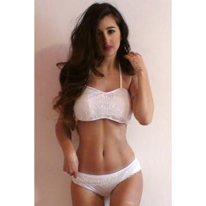 Stylish Halter Ruffled Lace Bikini Set For Women - WHITE L
