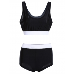 Color Block Sports High Waisted Tankini