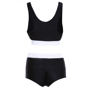 Color Block Sports High Waisted Tankini - BLACK XL