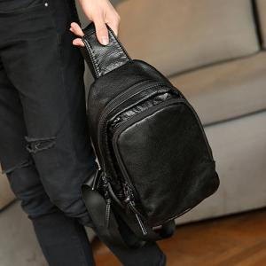 Concise PU Leather and Black Colour Design Messenger Bag For Men -