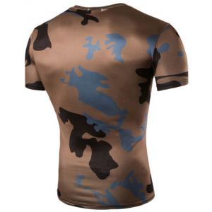 Camo Print Air Permeable Design Round Neck Short Sleeves T-Shirt For Men -