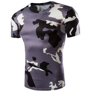 Camo Print Air Permeable Design Round Neck Short Sleeves T-Shirt For Men - Purple - L