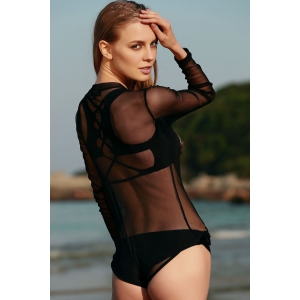 Stylish Stand Neck Long Sleeve Voile See-Through Women's Bodysuit -