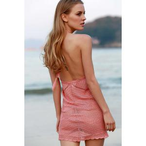 Stylish Halter Pink Crochet Women's Cover Up -