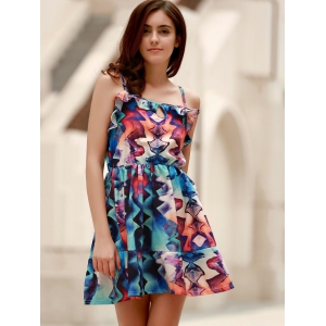 Short Pattern Slip Summer Dress - COLORMIX S
