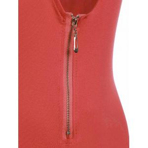 Fashionable Halter Neck Low-Cut Solid Color Zippered Bodysuit For Women -