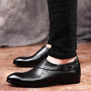 Trendy Metal and Solid Colour Design Formal Shoes For Men -