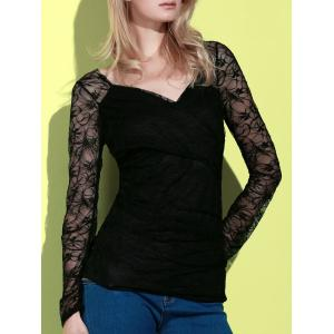 Plunging Neck Long Sleeve See-Through Lace Women's T-Shirt - Black - S