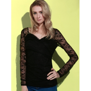 Plunging Neck Long Sleeve See-Through Lace Women's T-Shirt -