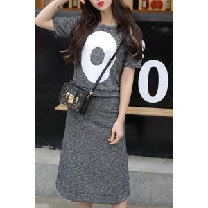 Casual Round Collar T-Shirt and Calf Length Skirt Twinset For Women -