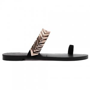 Stylish Toe Ring and Metal Design Slippers For Women -