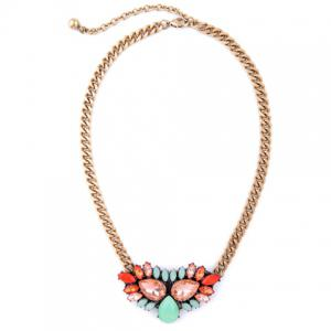 Chunky Water Drop Faux Crystal Necklace -