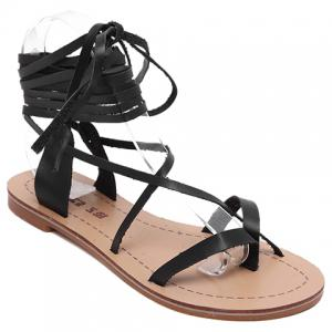 Flip Flop Lace Up Flat Sandals - Black - 36
