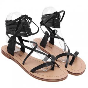 Flip Flop Lace Up Flat Sandals - BLACK 39