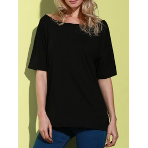 Casual 1/2 Sleeve Loose-Fitting Solid Color T-Shirt For Women - BLACK S