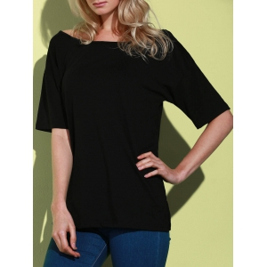 Casual 1/2 Sleeve Loose-Fitting Solid Color T-Shirt For Women - Black - S