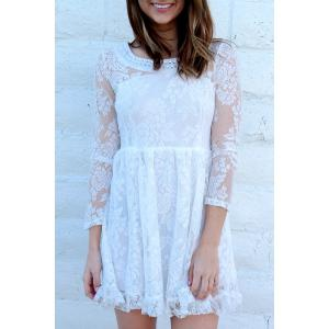 Beaded High Waist Ruffled White Lace Skater Dress with Sleeves - White - Xl