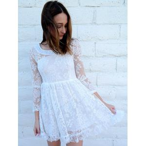 Beaded High Waist Ruffled White Lace Skater Dress with Sleeves - WHITE M