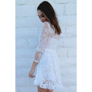 Beaded High Waist Ruffled White Lace Skater Dress with Sleeves -