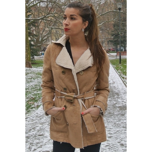 Stylish Turn-Down Collar Long Sleeve Belted Double-Breasted Women's Coat -