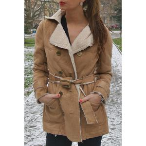 Stylish Turn-Down Collar Long Sleeve Belted Double-Breasted Women's Coat - Camel - L