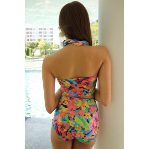 Floral Print High-Waisted Women's Bandage Bikini Set -