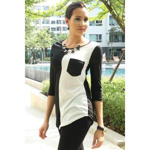 Casual Scoop Neck Color Block 3/4 Sleeve T-Shirt For Women -
