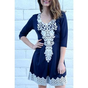 Women's Stylish 1/2 Sleeve Lace Splicing Round Neck A-Line Dress - Purplish Blue - M