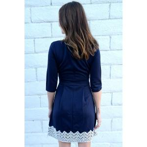 Women's Stylish 1/2 Sleeve Lace Splicing Round Neck A-Line Dress - PURPLISH BLUE M