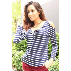 Trendy Scoop Neck Long Sleeve Hollow Out Striped T-Shirt For Women - BLUE GRAY ONE SIZE(FIT SIZE XS TO M)