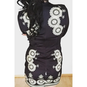 Stylish Plunging Neck 3/4 Sleeve Printed Bodycon Dress For Women - BLACK S