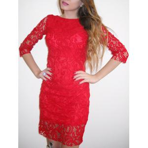 Backless Lace Tight Short Homecoming Dress - Red - Xl