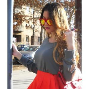 Elegant Scoop Neck Solid Color Cut Out T-Shirt For Women - GRAY XL