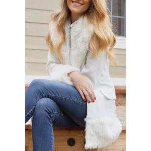 Elegant Turn-Down Collar Long Sleeve White Coat For Women - White - L